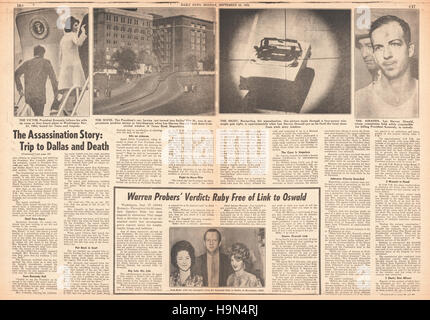 1964 Daily News (New York) centre page Warren Report into the assassination of President John F. Kennedy