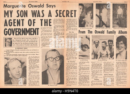 1964 Daily News (New York) centre page Marguerite Oswald says her son was secret government agent