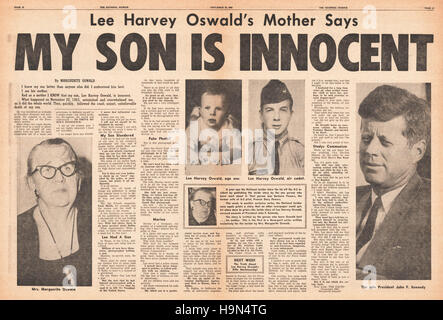 1964 Daily News (New York) centre page Marguerite Oswald says her  son is innocent