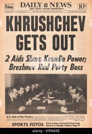 1964 Daily News (New York)  front page Nikita Khrushchev resigns