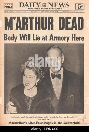 1964 Daily News (New York)  front page Death of General Douglas MacArthur