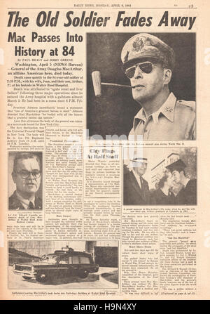 1964 Daily News (New York) page 3 Death of General Douglas MacArthur