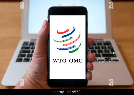 World Trade Organisation home page on iPhone smart phone mobile phone - Stock Photo