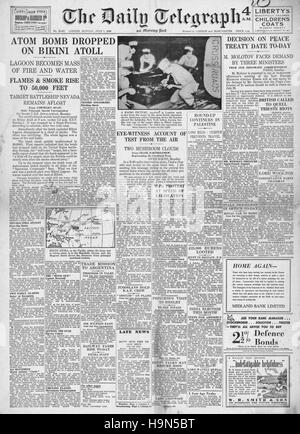1946 Daily Telegraph front page Atom bomb dropped on Bikini Atoll - Stock Photo