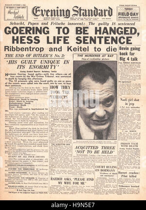 1946 Evening Standard (London) front page Nazi leaders sentenced to death - Stock Photo