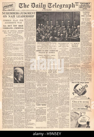 1946 Daily Telegraph front page Nazi leaders sentenced to death - Stock Photo