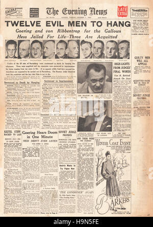 1946 Evening News (London) front page Nazi leaders sentenced to death - Stock Photo