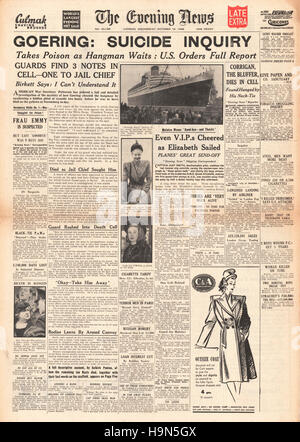1946 Evening News (London) front page 2nd Edition Herman Goering commits suicide - Stock Photo