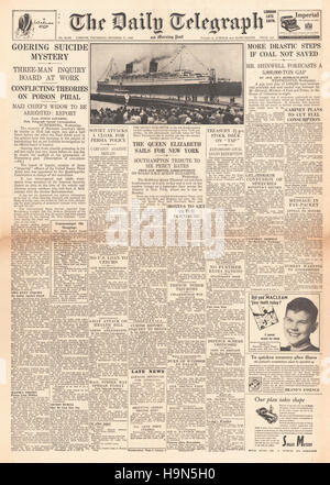 1946 Daily Telegraph front page Herman Goering commits suicide - Stock Photo
