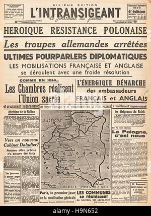 1939 L'intransigeant (France)  front page reporting the invasion of Poland by Nazi Germany - Stock Photo
