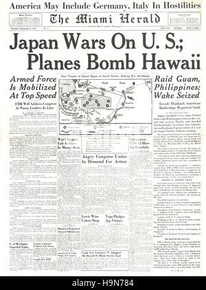 1941 Miami Herald (USA)  front page reporting Japanese attack on Pearl Harbour - Stock Photo