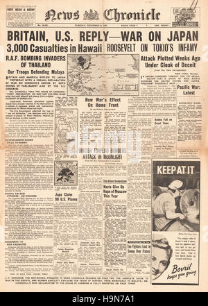 1941 News Chronicle  front page reporting Japanese attack on Pearl Harbour - Stock Photo
