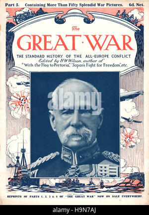 1914 The Great War front page Field Marshal Frederick Sleigh Roberts - Stock Photo