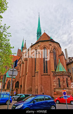 Young Saint Peter Church, or Saint-Pierre-le-Jeune Protestant Church in the city historic center Grand Ile of Strasbourg, - Stock Photo