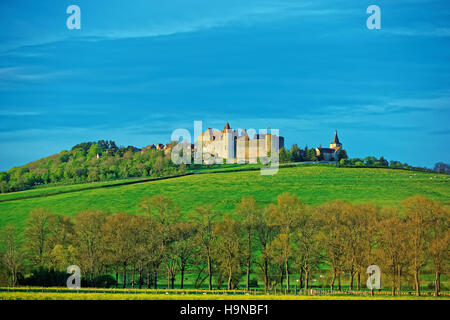 Chateauneuf Fort and Canal de Bourgogne valley in Cote dOr department in Bourgogne Franche Comte region, France - Stock Photo
