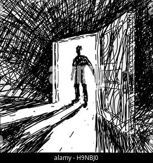 Man Enters Into Dark Room - Stock Photo