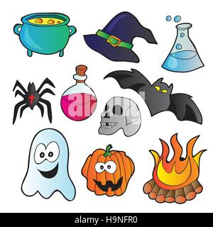 Halloween set - vector illustration with funny pictures - Stock Photo