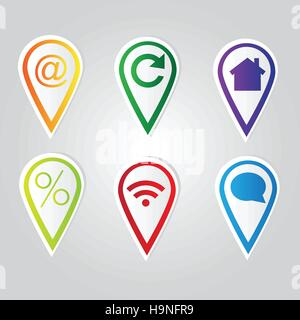 Set of bright map pointers - vector set with icons - Stock Photo