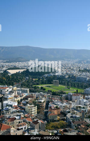 View of the temple of Olympian Zeus and Panathenean stadium from Acropolis in Athens, Greece - Stock Photo