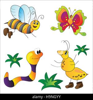 Cartoon cute insects vector  for the design - Stock Photo