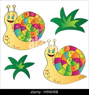 Vector illustration of a snail - a puzzle for child - Stock Photo