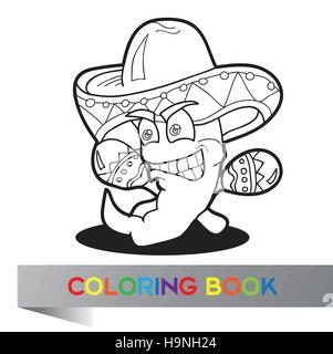 Coloring book with Mexican pepper  - vector illustration - Stock Photo