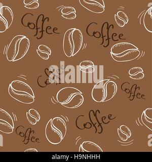 hand-drawn coffee beans seamless pattern - vector illustration - Stock Photo