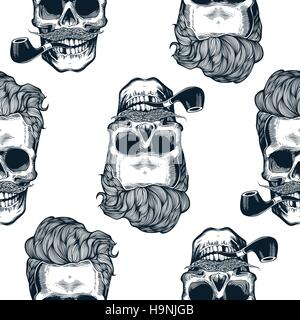 Hipster seamless pattern with skull silhouettes, flowers roses and watercolor stripes at the background. Skull silhouette - Stock Photo
