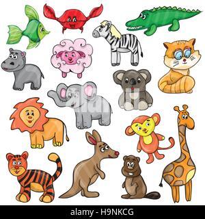 Vector illustration with cute animals - cartoon set - Stock Photo