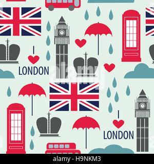 Seamless pattern with London symbols - vector illustration - Stock Photo