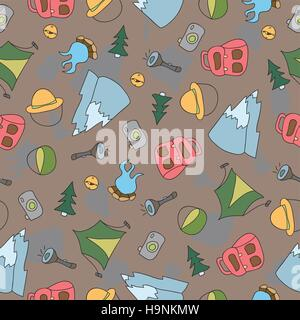 Vector seamless pattern of Camping Elements - Hand Drawn Doodle background - Stock Photo