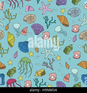 Seamless pattern with colorful sea creatures - vector - Stock Photo
