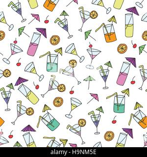 Seamless pattern of hand drawn cocktails on a white background - Stock Photo