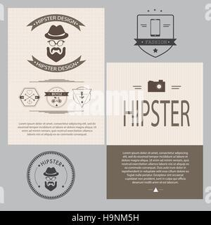 Vintage hipster design elements set - Vector illustration - Stock Photo
