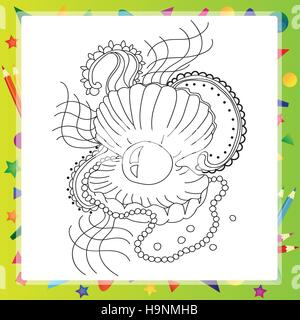 Black and white sea shell for coloring book. Vector - Stock Photo