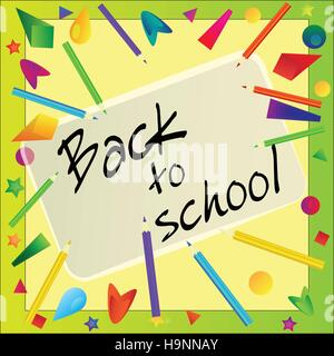 Frame made with color pencils - back to school vector background - Stock Photo