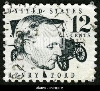 US,circa 1968, postage stamp, Henry Ford, American industrialist, - Stock Photo