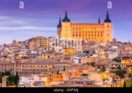 Toledo, Spain. Panoramic view of the old city and its Alcazar (Royal Palace). - Stock Photo