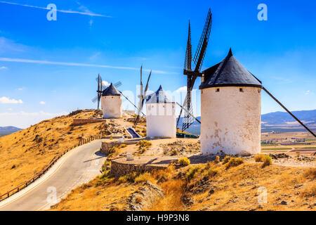 Consuegra, Spain. Windmills of Don Quixote in Toledo province. - Stock Photo