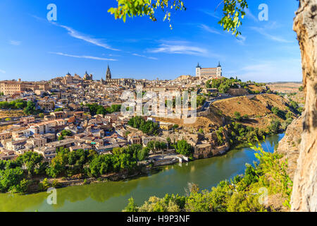 Toledo, Spain. Panoramic view of the old city and its Alcazar(Royal Palace). - Stock Photo