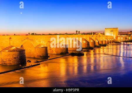 Cordoba, Spain. Roman Bridge on the Guadalquivir River. - Stock Photo