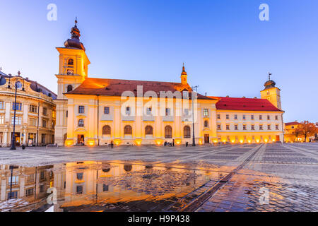 Sibiu, Romania. Large Square and City Hall. Transylvania medieval city. - Stock Photo