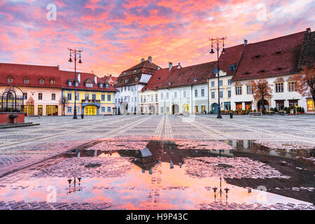 Sibiu, Romania. Large Square. Transylvania medieval city. - Stock Photo