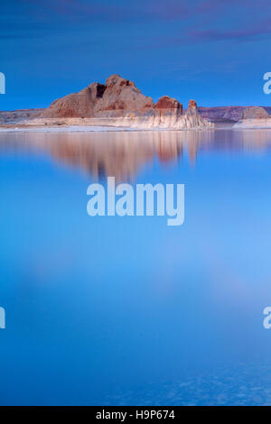 Twilight on Lake Powell in the Glen Canyon National Recreation Area in Utah. - Stock Photo