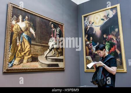 Manhattan New York City NYC NY Upper East Side Fifth Avenue Metropolitan Museum of Art Met gallery painting Italian - Stock Photo