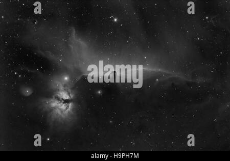 Horsehead and Flame nebulae in Orion constellation, black and white photo of horsehead nebula - taken with specialized - Stock Photo