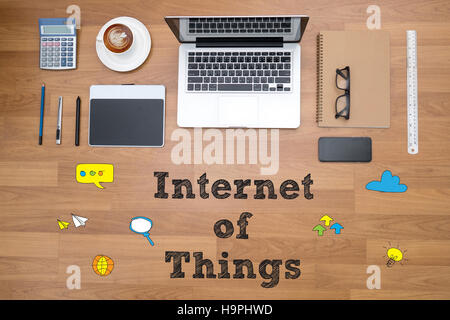 business man hand working and internet of things (IoT) word diag - Stock Photo