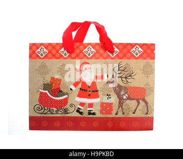 Christmas bag for gifts, with Santa Claus decoration - Stock Photo