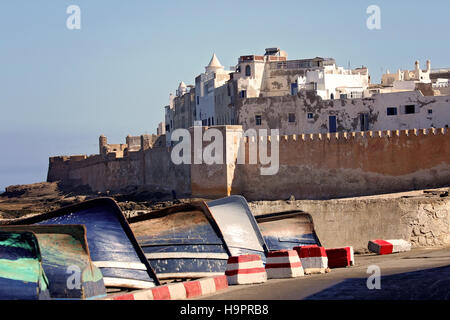 Boats in the old port in the city Essaouira, Morocco - Stock Photo