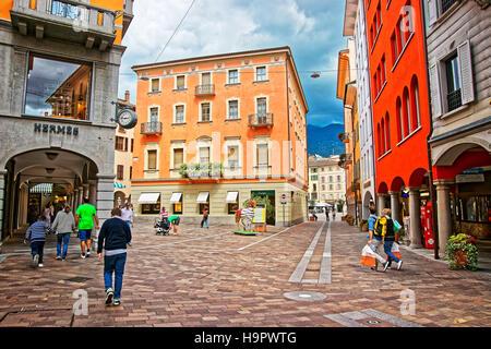 Lugano, Switzerland - August 26, 2013: Via Nassa Street in the city center of luxurious resort Lugano, Ticino canton - Stock Photo